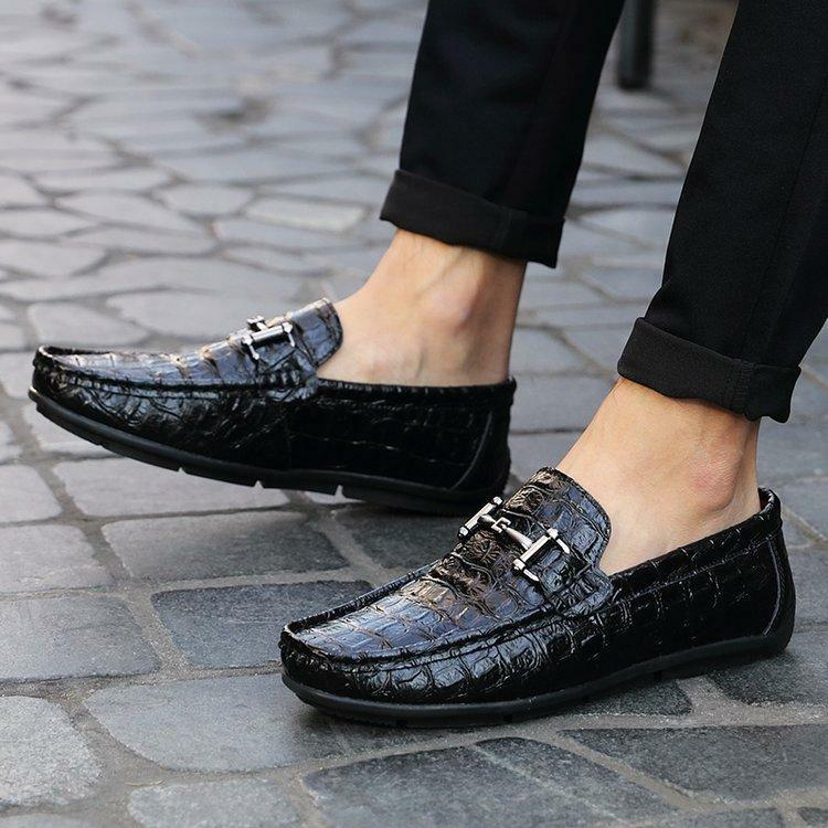 Mens moccasin Driving shoes Hot crocodile pattern Slip On Metal Decor Loafers