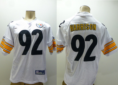 Rbk Pittsburgh Steelers white James Harrions #92 Stitched sewn Jersey mens sz | eBay