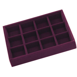2Pcs 24Grids Gem Jewelry Display Velvet Tray Organizer Holder Storage Show Case
