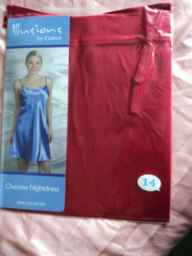 Ladies satin look Chemise Nightdress size 10  12   14   in red or black