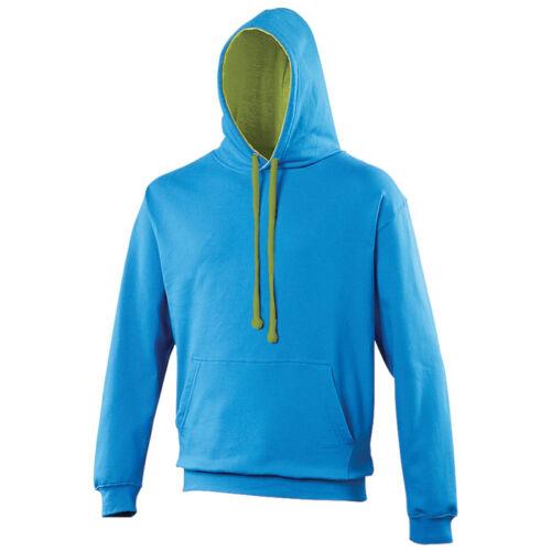 AWDIS JH003 Varsity Unisex Contrast Hooded Sweatshirt 40 Colours Sizes  S-2XL