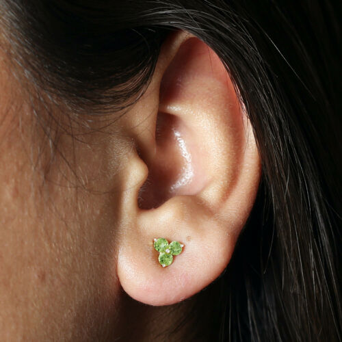 Details about  /Solid Gold Prong Set Peridot Stud Earrings Fine Jewelry For Women Gift
