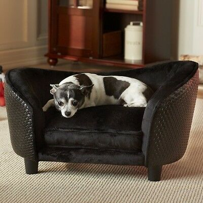 DOG CAT PET BED SOFT CUSHION PUPPY LOUNGE SOFA SNUGGLE Black - PET FURNITURE