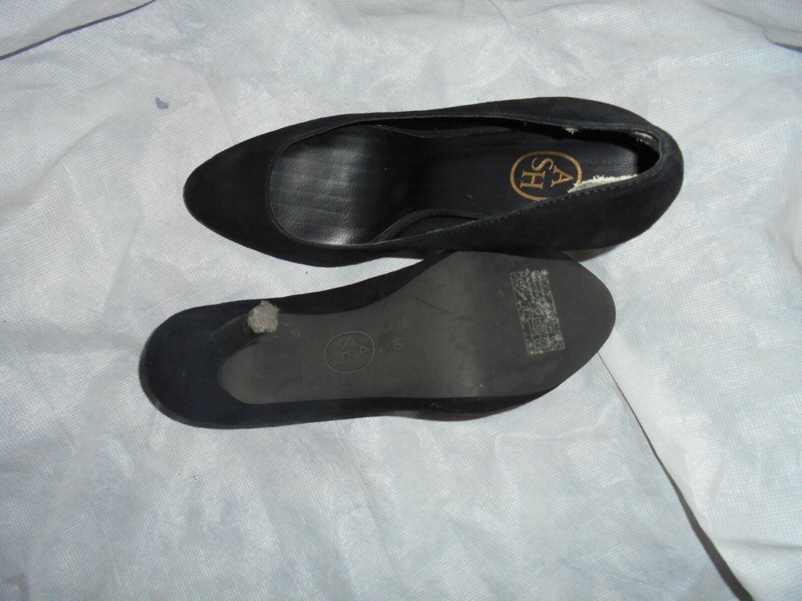 ASH WOMEN BLACK SUEDE LEATHER SLIP ON HEEL Schuhe SIZE UK 7 EU 40 VGC