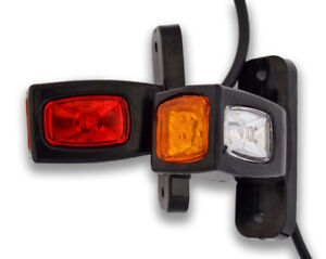 PAIR 12V 2 SMD LED RED SIDE MARKER LIGHTS CHROME FOR SCANIA DAF MAN VOLVO IVECO