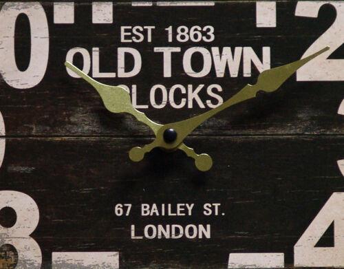 Wanduhr Vintage Retro Antik Design MDF//Canvas AnalogOLD TOWN CLOCKS Shabby