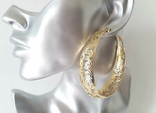 STUNNING! Big & wide gold tone filigree patterned large  hoop earrings *NEW