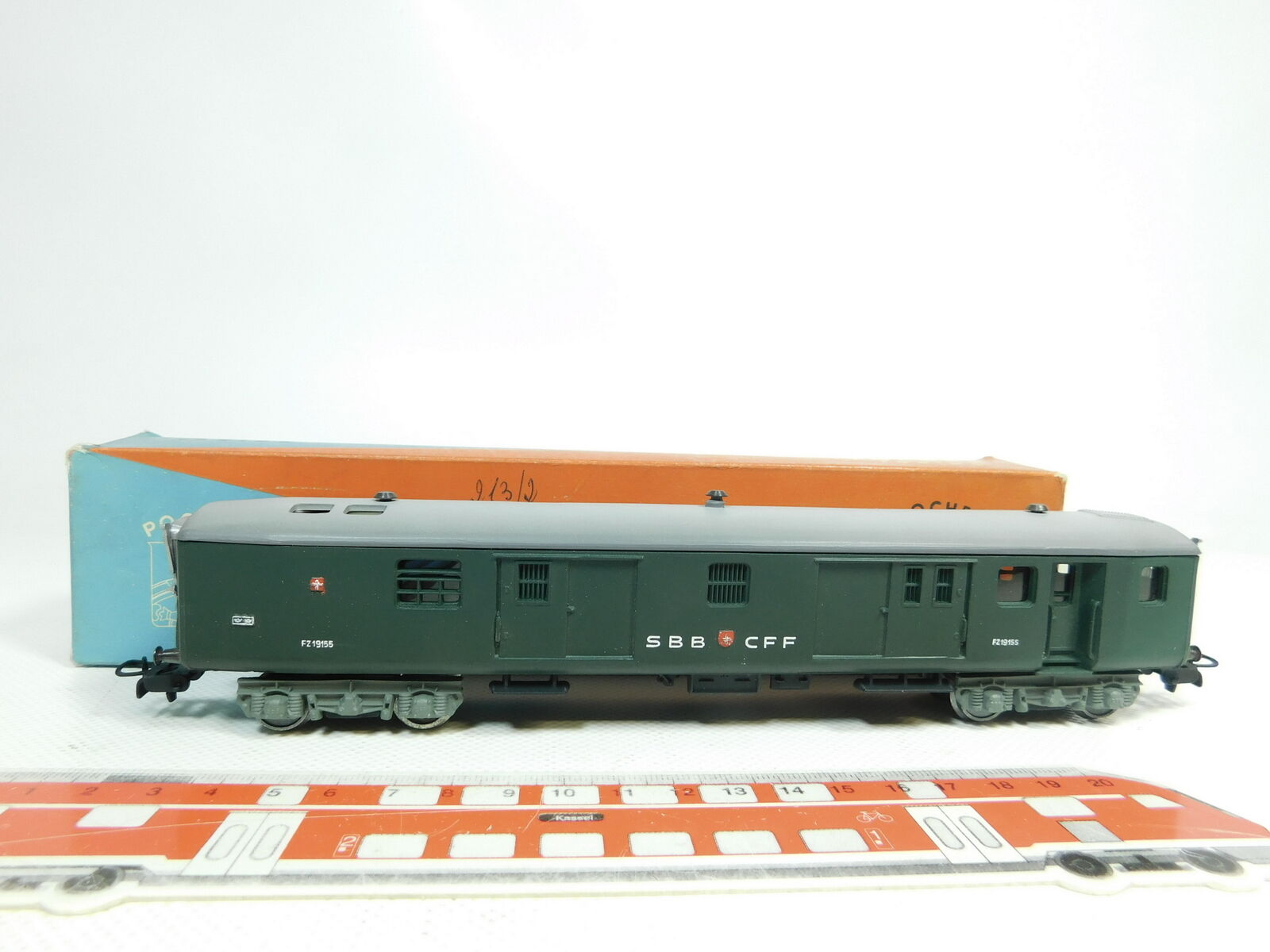 BJ150-0,5 Pocher H0   Ac Vagón Portaequipajes   Correo Fz 19155 SBB Cff ,( Ovp