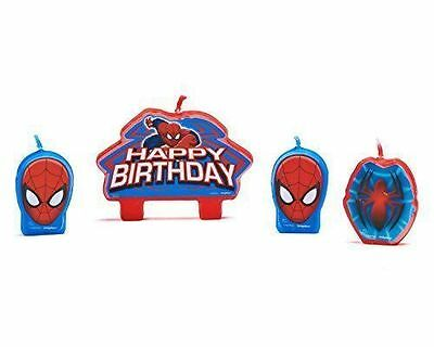 SpiderMan Birthday Candle Set Cake Toppers Decorations 4pc Party Supplies Favors