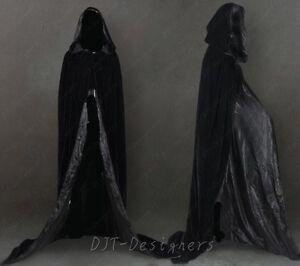 2017 Black Velvet Halloween Wizard Hooded Cloak Wedding Cape Party S-6X