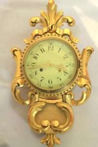 VINTAGE-GOLD-GILT-8-DAY-FRANZ-HERMLE-SWEDISH-CARTEL-WALL-CLOCK-PENDULUM-GALLERY