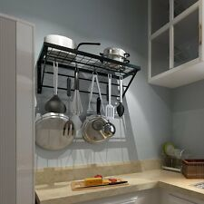 Hanging Kitchen Pan Pot Rack Shelf Cooker Organizer Holder With 10 S-shape Hooks