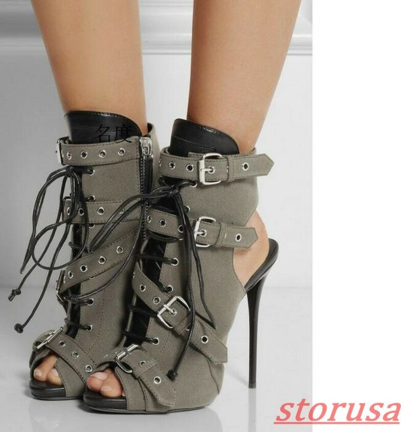 Mujer Gladiador Peep Toe Hebilla Hebilla Hebilla Correa Zapato Taco Alto botas Sandalias Punk Talla  entrega rápida
