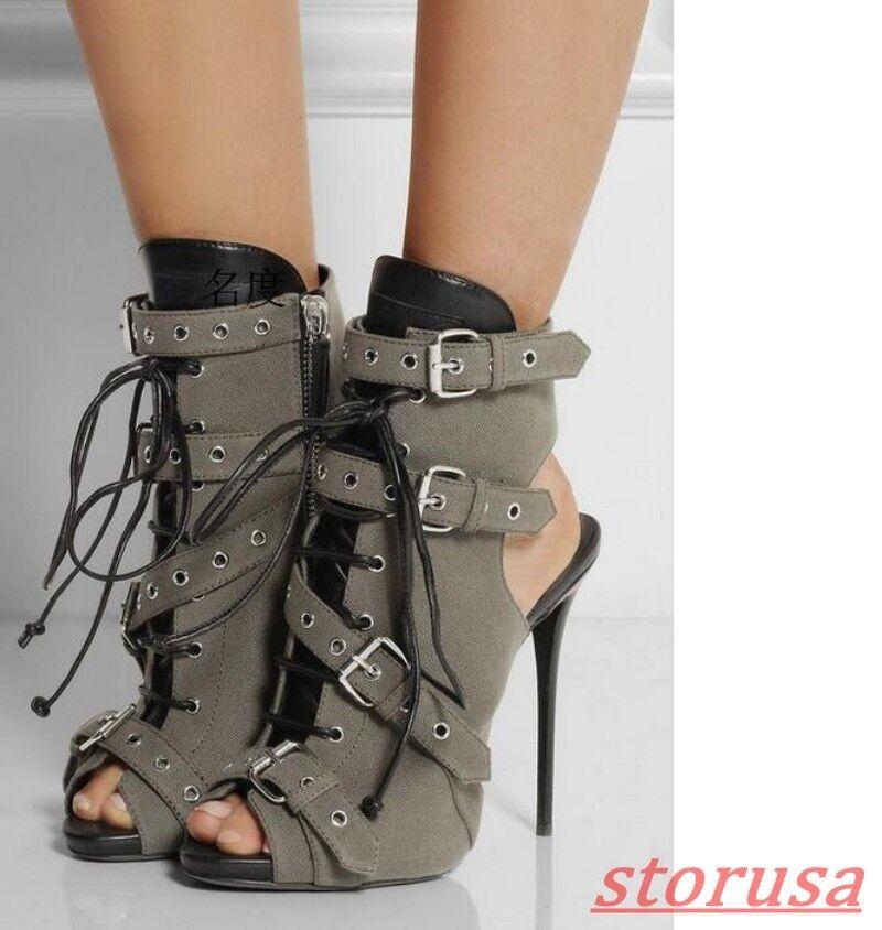 Mujer Gladiador Peep Toe Hebilla Correa Zapato Taco Alto botas Sandalias Punk Talla