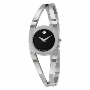 Movado Amorosa Black Dial Stainless Steel Ladies Womens Watch New In Box 0606394