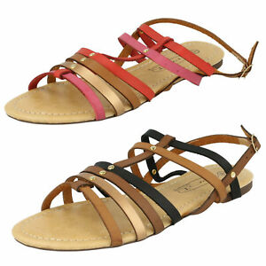 SALE-F0R699-SPOT-ON-LADIES-OPEN-TOE-STRAPPY-BUCKLE-FLAT-RED-BROWN-SUMMER-SANDALS