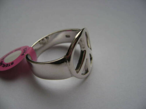 Men/'s Sterling Silver Peace Sign Ring New