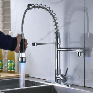 LED-Pull-Down-Sprayer-Kitchen-Sink-Faucet-Swivel-Spout-Mixing-Chrome-Deck-Cover