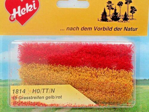 hauteur 5-6 mm Heki 1814 grasstreifen jaune//rouge 8,49 €//m 10 unités par 100 mm lg.
