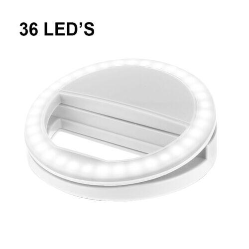 Per Huawei P 8 Lite-Bianco Selfie 36 LED Flash anulare luce di riempimento macchina fotografica Clip