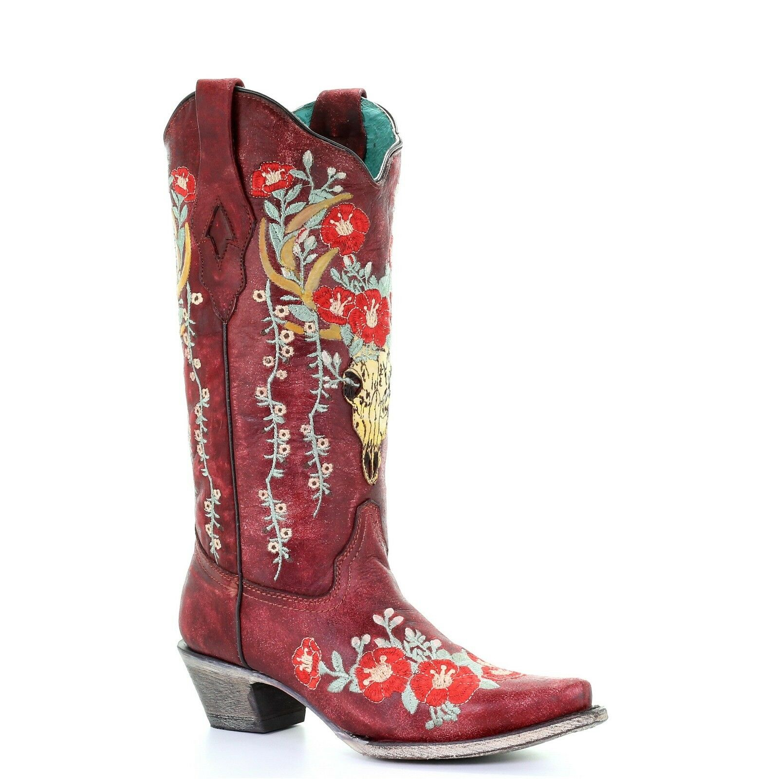 online al miglior prezzo Corral Corral Corral Ladies rosso Deer Skull Overlay & Floral Embroidery stivali A3712  con il 100% di qualità e il 100% di servizio