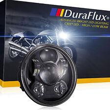 "DuraFlux 5.75"" CREE LED Headlight Round Black Hi/Low Beam Super White for Harley"