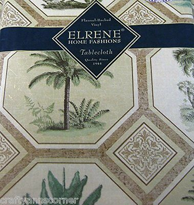 Elrene Tropical Palm Trees Vinyl Flannel Backed Tablecloth 52 x 70