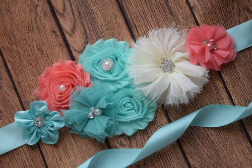 Aqua coral ivory sash  #4 Flower Sash flower Belt maternity sash