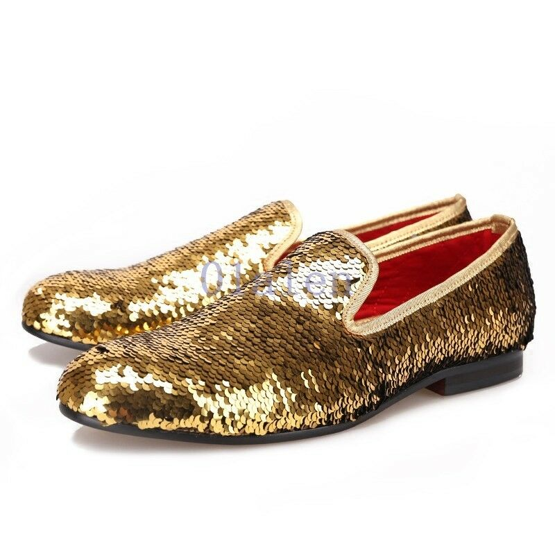 Glitter Sequins Bling Bling Shiny European Loafer Slip On Party Leather shoes 01