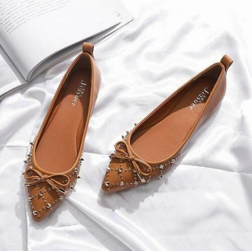 Women/'s Chic Leather Pointed Toe Flat Heels Slip On Rivets 2019 Loafers Shoes YH