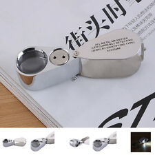 40X 25mm Glass Folding Jewelry Loupe Magnifier Magnifying with LED+ UV Light