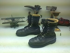 DISTRESSED-BROWNING-STYLE-MADE-IN-USA-GREEN-LEATHER-ENGINEER-MILITARY-BOOTS-9-D