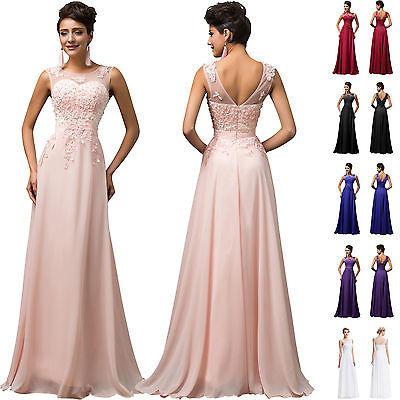 APPLIQUE + PERLEN Lang Brautjungferkleid Abendkleid Brautkleid Ballkleid Kleider