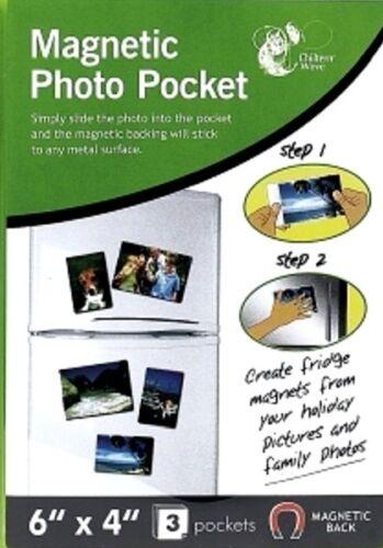 "3 Pcs MAGNETIC PHOTO PICTURE PHOTOGRAPH HOLDERS POCKETS 6/"" X 4/"" FRIDGE MAGNETS"