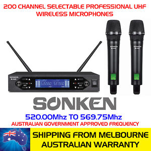 PRO-WIRELESS-MICROPHONES-200-SELECTABLE-UHF-CHANNELS-CARRY-CASE