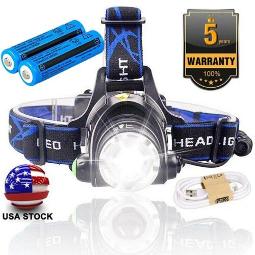 Details about  /5X Bright 350000 Lumens LED Zoom Headlamp USB Rechargeable Headlight Lights New