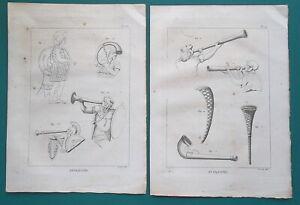 TRUMPETS-of-Rman-Army-Barbarian-Lituus-Bucina-3-Three-1804-Antique-Prints