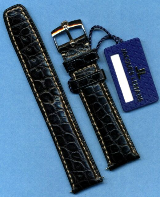GENUINE ROLEX STEEL BUCKLE TANG &  GENUINE ALLIGATOR STRAP BAND 20mm LEATHER LIN