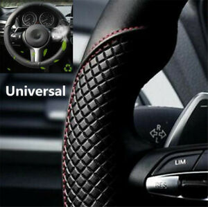 Black-Car-Steering-Wheel-Cover-Microfiber-Leather-Breathable-Anti-slip-15-039-039-38cm