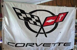 Corvette Logo 36 x 58 Garage Wall Banner Flag Chevrolet white, black and red