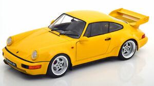 Porsche-911-964-RS-3-8-Amarillo-modelo-de-escala-1-18-Diecast-Clasico-De-Buen-Detalle