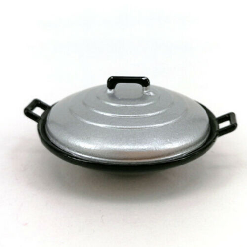 2Pcs//set 1:12 dollhouse miniature kitchen cooking wok pot cover furniture BLUS