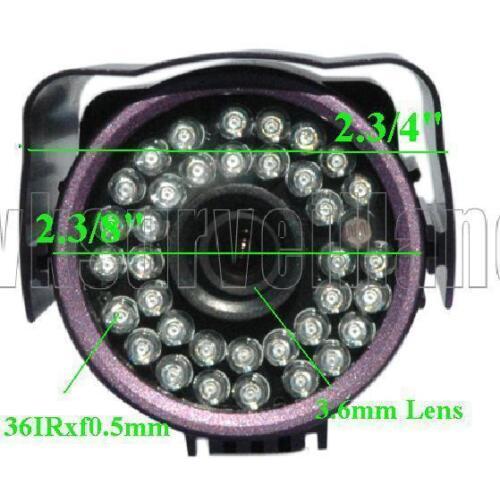 SH-3S232 1//3 Sony CCD 36IRx0.5F up to 85FT 3.6mm 480TVL Weatherproof BNC Camera