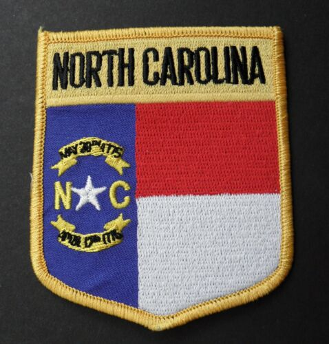 NORTH CAROLINA EMBROIDERED SHIELD PATCH IRON ON 2.75 X 3 INCHES