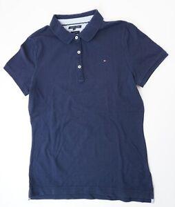 Tommy Hilfiger Poloshirt Polohemd Damen Gr.L blau uni Knopf Piquè -S1276