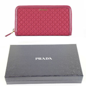 33e257002a96bb NEW $650 PRADA Pink QUILTED NYLON & Leather ZIP AROUND Long LARGE ...