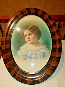"""Antique Tiger Stripe Glass Oval Picture Frame Holds 12.5""""x 19"""" (w/ Young Girl)"""