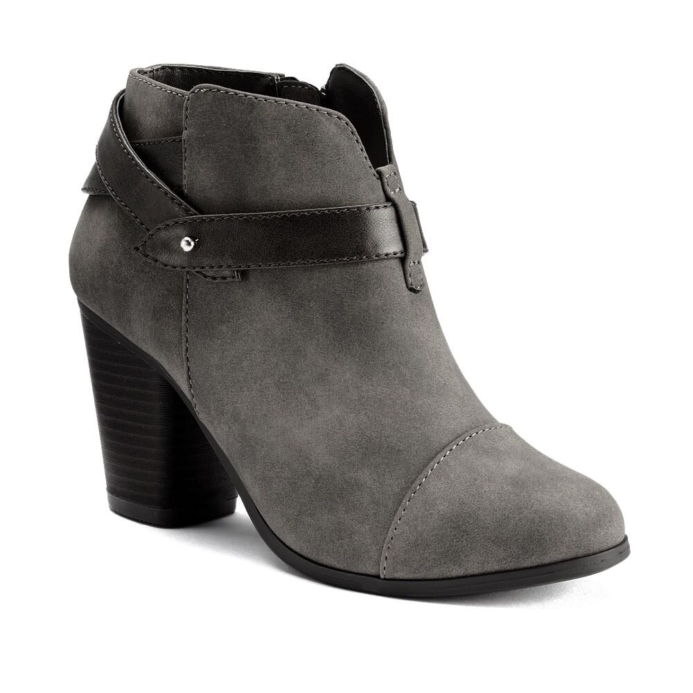 Damenschuhe Lauren Conrad Ankle Booties Strappy Dress Boot Stacked Heels GRAY 9.5