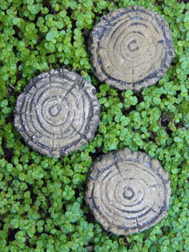 Miniature Dollhouse FAIRY GARDEN ~ 3 Cement Tree Stump Pavers Stepping Stones