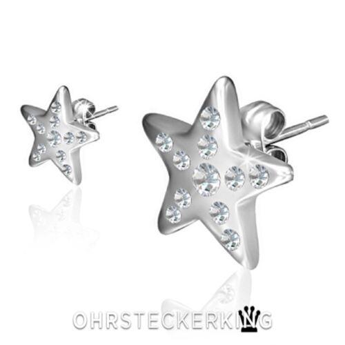 Ohrstecker Stern groß mit kleinen Zirkonias Edelstahl Neu